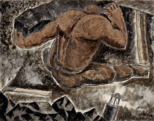 BISSILL George (1896-1973) - 'Heaving Coal' Oil on canvas.