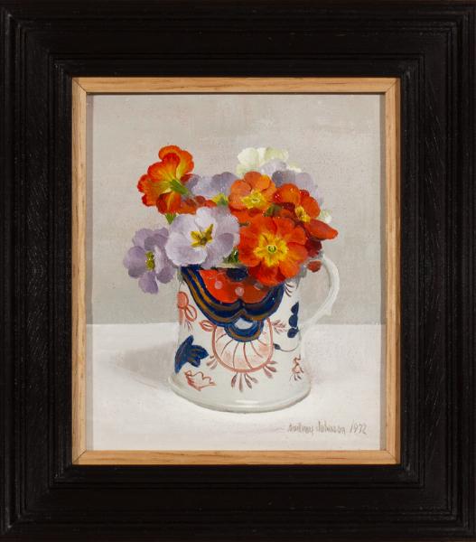 JOHNSON Audrey (b.1919) - 'Primulas' in a stoneware mug.