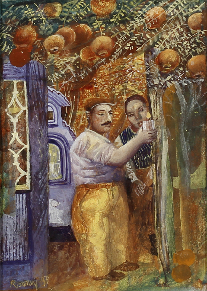 ROONEY Mick R.A. (b.1944) - 'Peasants in an Orchard'.