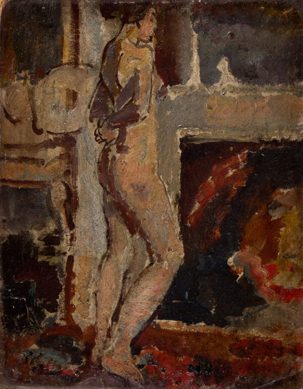 Walker Dame Ethel N.E.A.C. (1861-1951) - Figure study Oil on card.