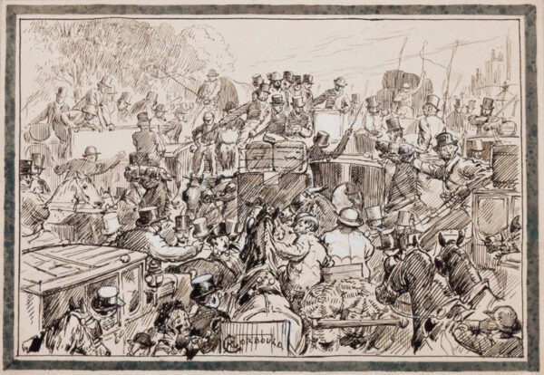 CORBOULD Alfred Chantry (1852-1920) - A London traffic jam.