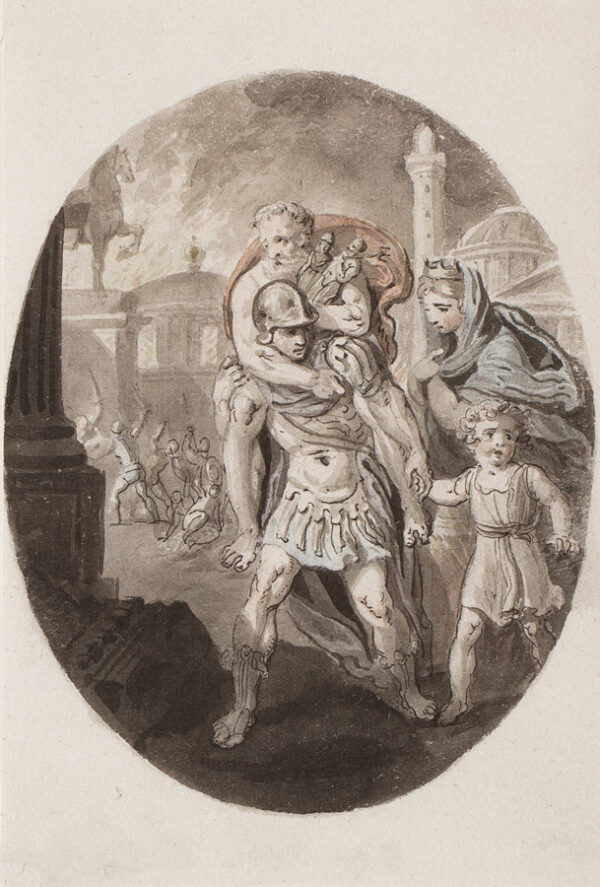 CORBOULD Richard (1757-1831) - Aeneas escaping Troy with his father (Anchises), Wife (Creusa), and Son (Ascanius).
