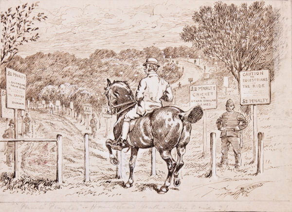 CORBOULD Alfred Chantry (1852-1920) - 'Hampstead Heath – where to ride?' Pen and ink for 'Punch'.