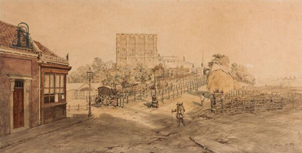 COTMAN John Joseph (1814-1878) - Norwich Castle from the Cattle Market.