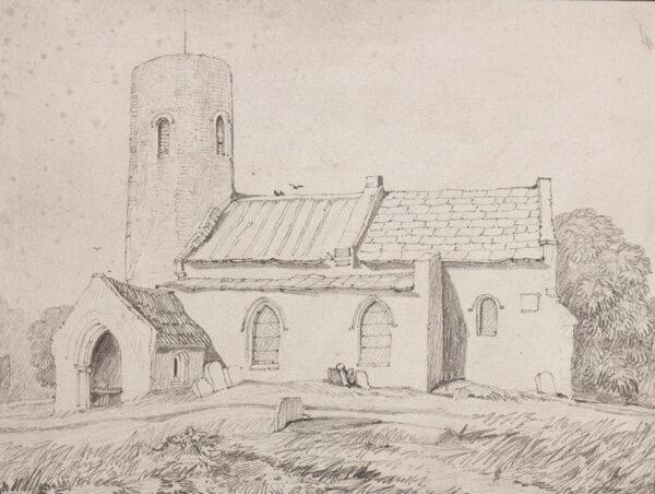 COTMAN John Sell (1782-1842) - 'Hautbois Church'; possibly Little Hautbois Church before 19th century restoration.