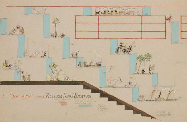 CRAIG Edward ('Edward Carrick') (1905-1998) - 'Victoria News Theatre': design for an art deco Cinema interior.