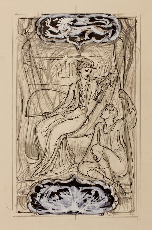 CRANE Walter (1845-1915) - 'July': study for a Calendar.