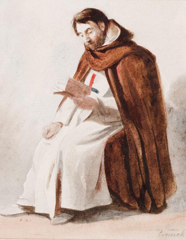 CROMEK Thomas Hartley A.N.W.S. (1809-1973) - Seated Friar, Italy.