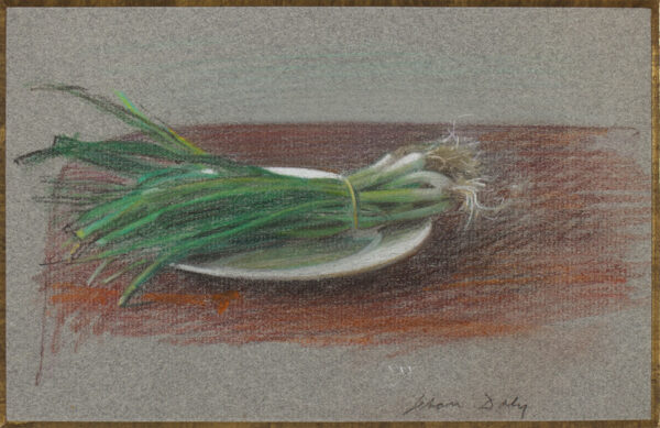 DALY Jehan (1918-2001) - 'Spring onions in a dish'.