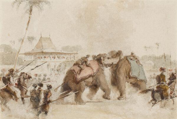 DANIELL William R.A. (1769-1837) - Elephant fight, Lucknow.