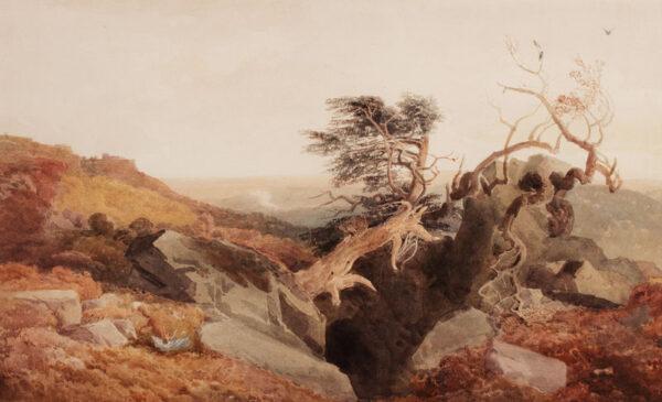 DE WINT Peter O.W.S. (1784-1849) - Derbyshire landscape with distant Bolsover Castle.