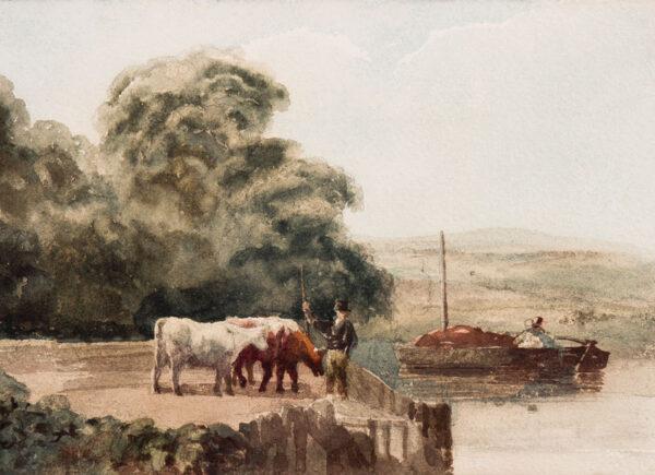 DE WINT Peter (1784-1849) - Cattle at the riverside.