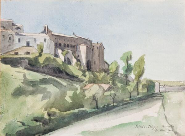 DELAUNAY Pierre (1870-1915) - 'Viterbo, Palazzo Vescovile'.