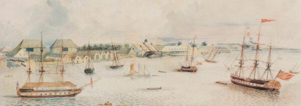 DENNIS William Jnr (late 18th century) - Jamaica: Port Royal Dockyards with the 'Polyphemus' and the 'Thalia'.