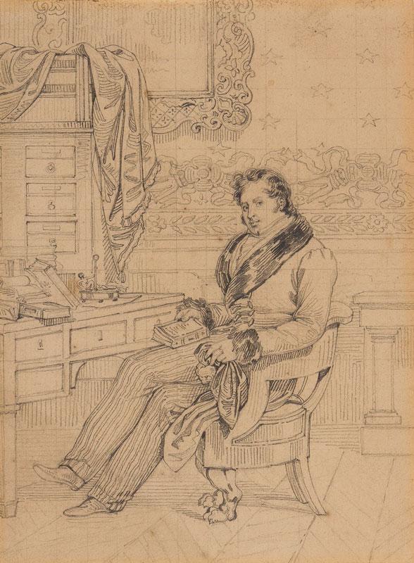 DEVERIA Achille (1800-1857) - Homme assis a son bureau.