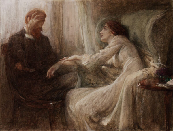 DICKSEE Sir Frank P.R.A. (1853-1928) - 'The Confession'.