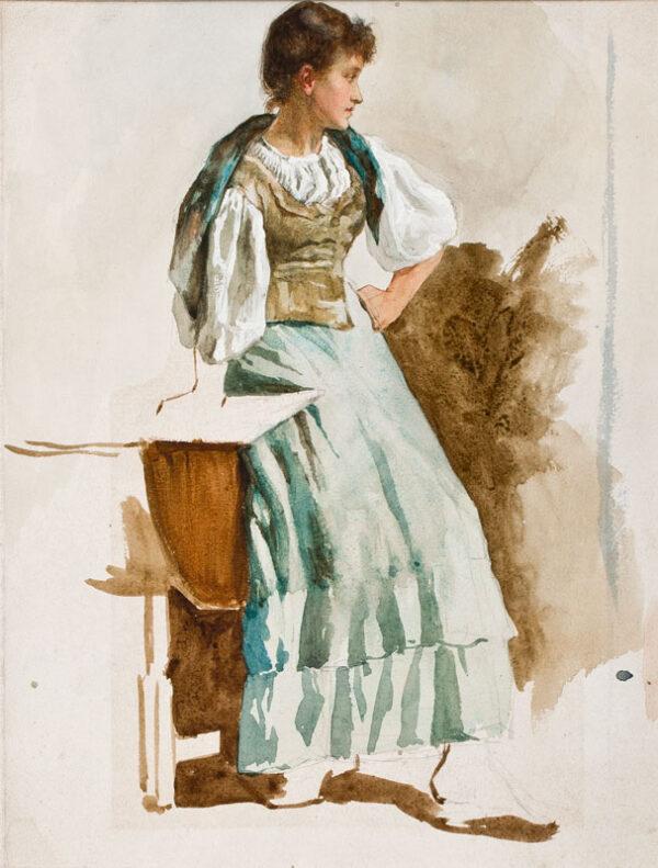 DICKSEE Thomas Herbert (1862-1942) - Standing girl.