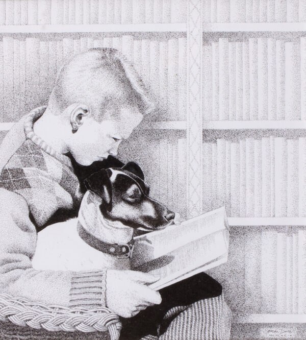 DORRELL Simon (b.1961) - 'Max reading with Feo for company'.