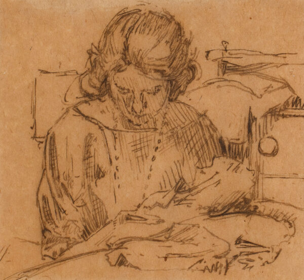 DRUMMOND Malcolm (1880-1945) - A woman sewing.