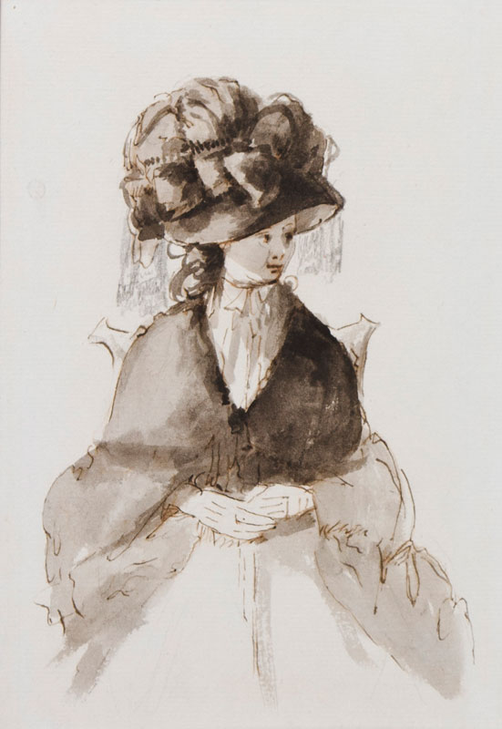 DUNTHORNE James (1730-1815) 'The Colchester Hogarth' (Attributed to) - Seated lady.