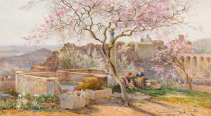 EARLE Charles R.I. (1832-1893) - 'Ariccia from the Galoro'.