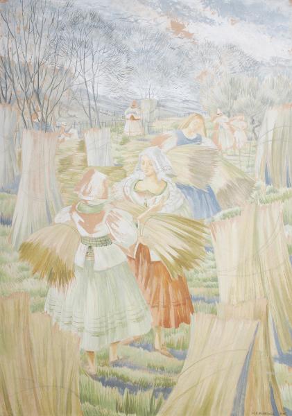 ELDRIDGE Mildred R.W.S. (1909-1991) - Gathering the Harvest.