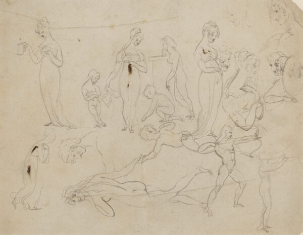 ETTY William R.A. (1787-1849) - A sketchbook page of figure studies.