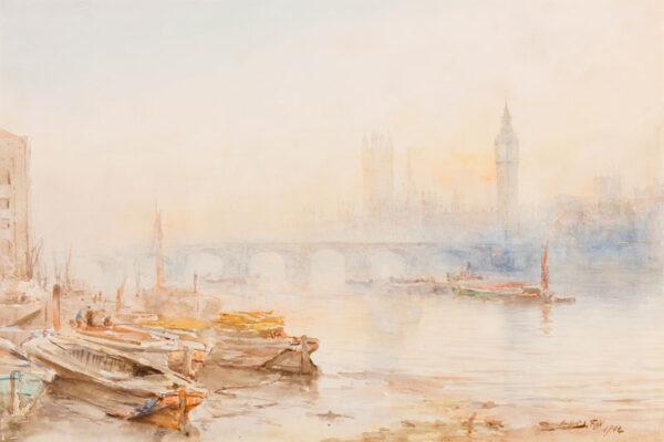 FINN Herbert John (b.1861 - c.1940) - 'Westminster Bridge and the Houses of Parliament'.