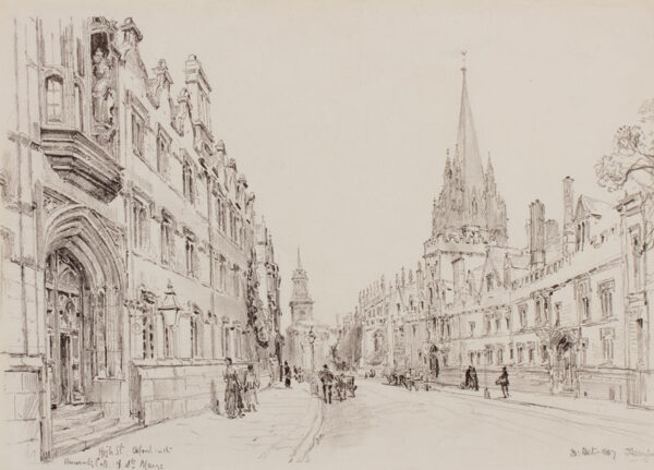 FULLEYLOVE John R.I. (1845-1908) - 'Oxford, High Street with University College and St Mary's'.