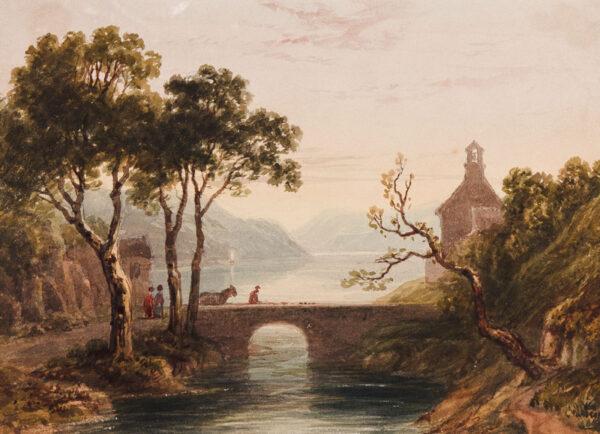 GASTINEAU Henry (1791-1876) - Lake scene.