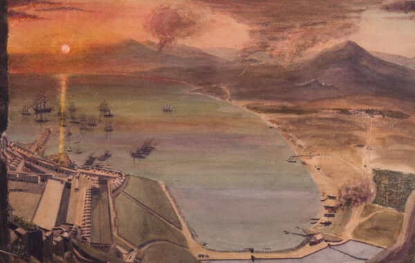 GIBRALTAR (subject) Colonel H. A. Turner - 'Sunset view from the Moorish Castle Gibraltar looking towards Algeciras'.