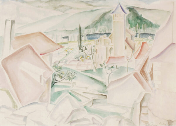 GILES Catherine Dawson (1878-1955) - Village roofs, South of France.