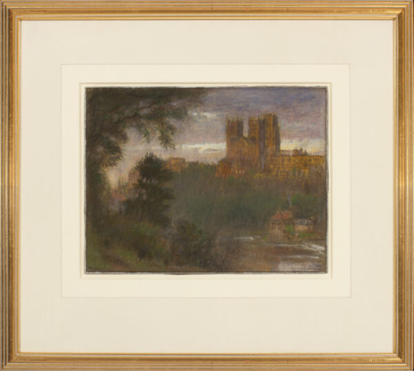 GOODWIN Albert R.W.S. (1845-1932) - 'Durham Cathedral' at dusk.