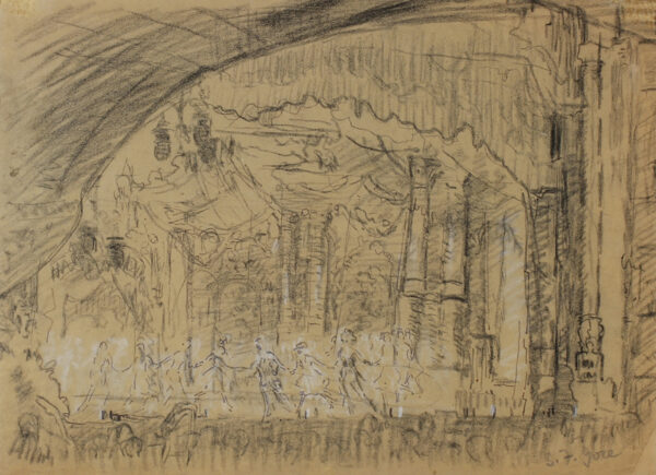 GORE Spencer Frederick N.E.A.C. L.G. (1878-1914) - The Alhambra Music Hall, Ink, black chalk heightened with white.