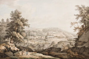 GRIMM Samuel Hieronymous (1733-1794) - A landscape, possibly Swiss or Continental, and painted before his arrival in Britain in 1768.