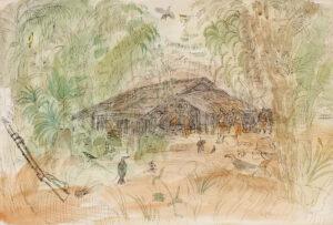 GROSS Anthony R.A. L.G. (1905-1984) - 'Base Camp, Arakan', Burma.