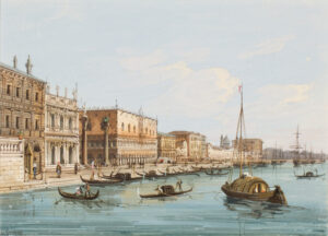 GRUBAS Carlo (1802-1878) - The Palazzo Ducale and the Riva from the Bacino.