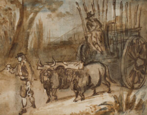 GUYS Constantin (1805-1892) - An ox cart, possibly a Spanish scene.