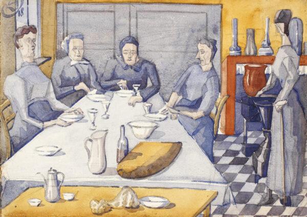 HAGEDORN Karl R.B.A. N.E.A.C. (1889-1969) - 'A family…billet in Serques', Pas de Calais.
