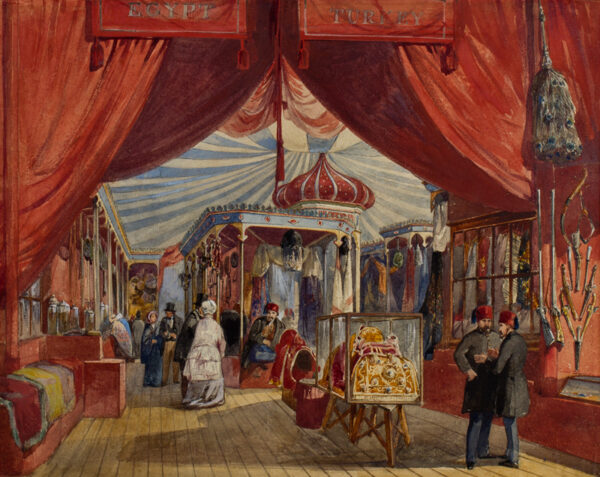 HAGHE Louis (1806-1885) (Circle of) - The Egyptian and Turkish Stand at the Crystal Palace.