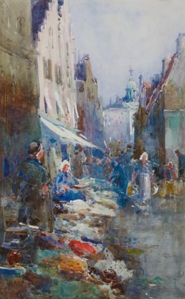 HAITE George Charles R.I. (1855-1924) - A Dutch market.