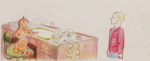 HALE Kathleen (1898-2000) - 'The Taster arrived…' Crayon and pencil to illustrate Orlando becomes a Doctor, 1944, p.