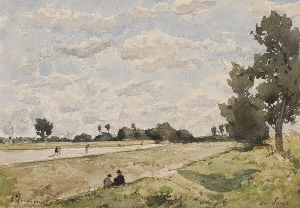 HARPIGNIES Henri (1819-1916) - 'Les Loups' on the Loire.