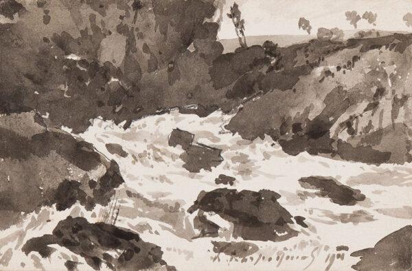 HARPIGNIES Henri (1819-1916) - Paysage au torrent.