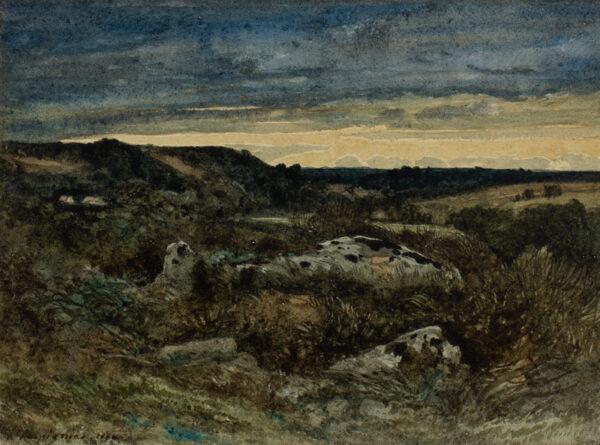HARPIGNIES Henri-Joseph (1819-1916) - Coucher du soleil.
