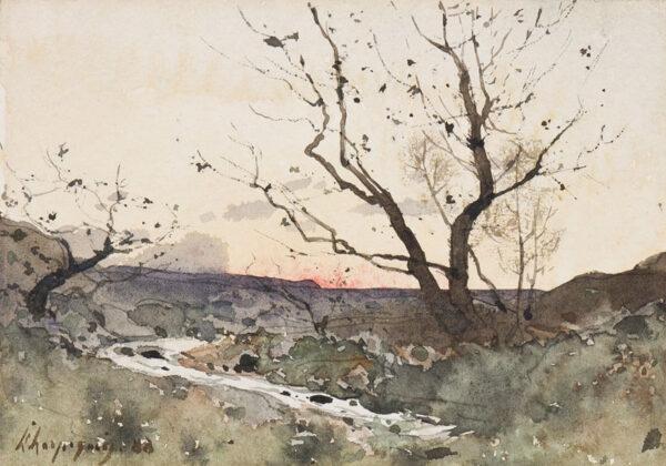 HARPIGNIES Henri-Joseph (1819-1916) - 'Un torrent dans le Var'.