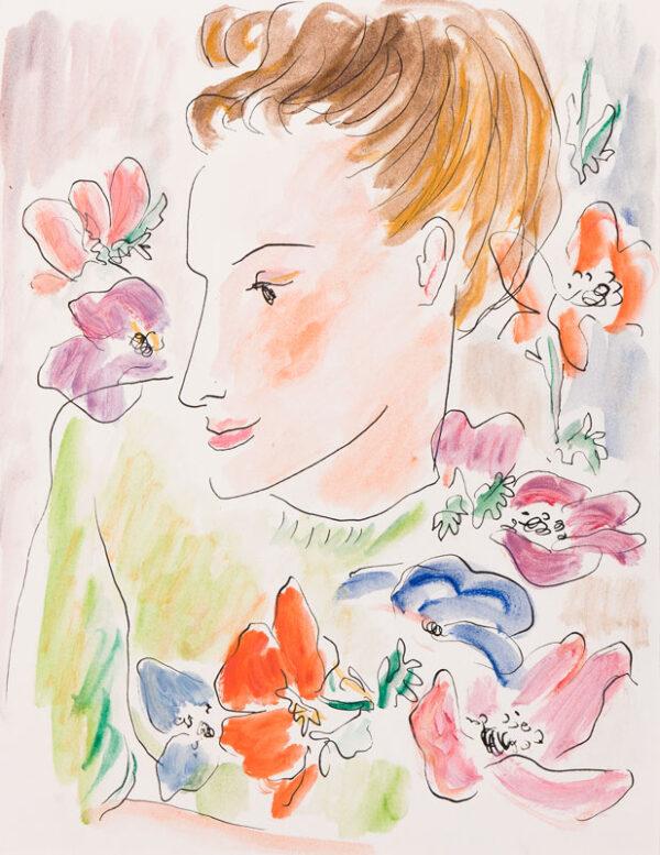 HARRISON John Theodore (1914-2004) - Girl framed in anenomes.
