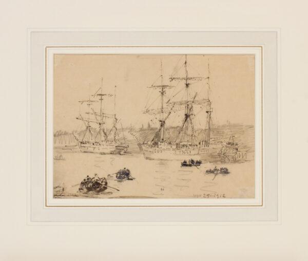 HAWKSWORTH William Thomas Martin R.I. (1853-1935) - Three masters moored at Portsmouth.