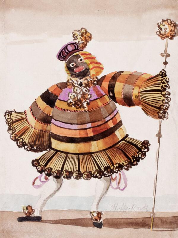HECKROTH Hein (1901-1970) - 'Costume design for the Negro Majordomo', Watercolour and gouache design for the ballet Magic Mirror, Jooss Ballet Co, 1935.