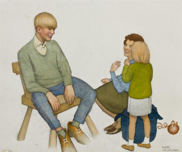 HENDERSON Keith (1883-1982) - 'A Secret' Watercolour.